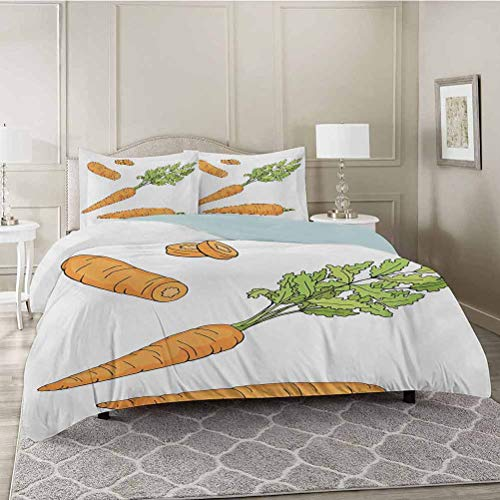 YUAZHOQI Bedding Duvet Cover 3 Piece Set, Fresh Carrot Pattern with Leaves Sketch Illustration of Vegetables, Comforter Cover with Zipper Closure and 2 Pillow Sham, King Size