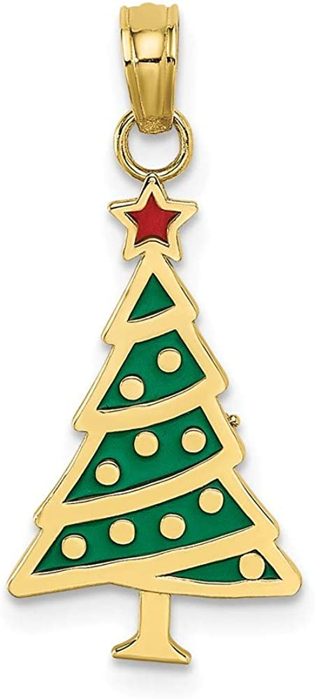 10k Yellow Gold 70% OFF Outlet Enamel Green Christmas Max 69% OFF Star Red Pendant Tree Cha