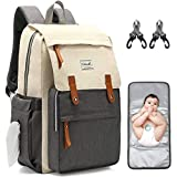 Diaper Bag Backpack, Multifunction Waterproof Travel Maternity Baby Care Changing Bags, Stylish Nappy Bags for Mom & Dad with Insulated Pockets, Girls/Boy Changing Pad, Large Capacity, Beige&Gray