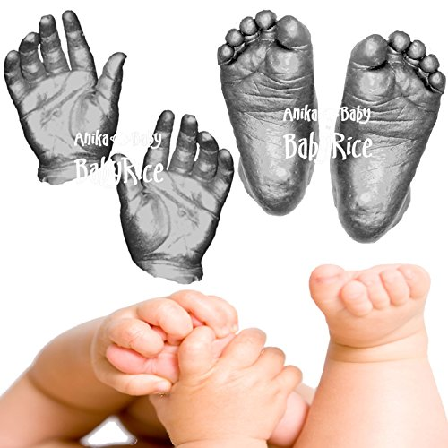 BabyRice up to 12 Casts / 3D Large Baby Casting Kit with Metallic Pewter Paint