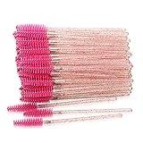 300 Pack Disposable Mascara Wands Eyelash Brushes for Extensions Eye Lash Applicator Makeup Tool Kit, Crystal/Rose