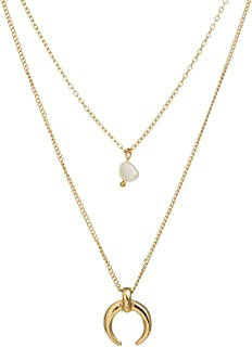 Jxc Fashionable Natural Freshwater Pearl Accessories Korean Version Of Simple Multi-layer Moon Necklace(Nz247 Fake Alien F...