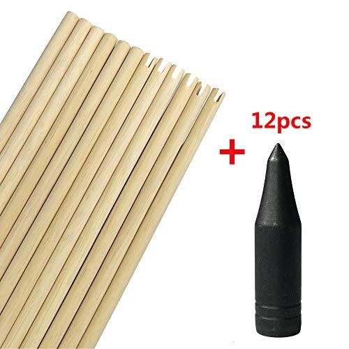 MILAEM Tiro con Arco 80 cm Eje de Flecha con Puntas de Flecha 8 mm Eje de Flecha de Madera para DIY Flechas de Caza (Type 2)