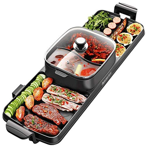 Lqfcjnb BBQ-Hot Pot/Zwei-in-One/Rauchfrei/Doppelsteuerung/elektrischer Grill/der Innen-Stick-Grill, geeignet 3-15 Personen (Hot Pot 1100W + Backbecher 1100W)