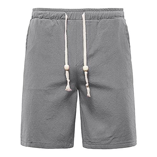 N\P Pantalones cortos de playa de algodón liso liso y lino para el deporte de la tabla pantalones cortos de surf trajes de baño playa casual