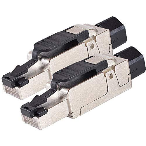 VESVITO 2x CAT 6A RJ45 Netzwerkstecker für CAT 7A CAT 7 CAT 6A CAT 6 Netzwerkkabel AWG23-26, 10 GBit/s 500MHz, werkzeuglos, PoE++ Stecker für Verlegekabel Patchkabel Datenkabel Ethernet Netzwerk Kabel