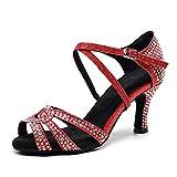 Love Shoes Mujer Zapatos De Baile con Diamantes De Imitación Suela De Gamuza Zapatos De Práctica De Salón Hebilla De Tobillo Tacón Alto Moda Zapatos De Baile Latino Estándar,Rojo,34EU/4UK