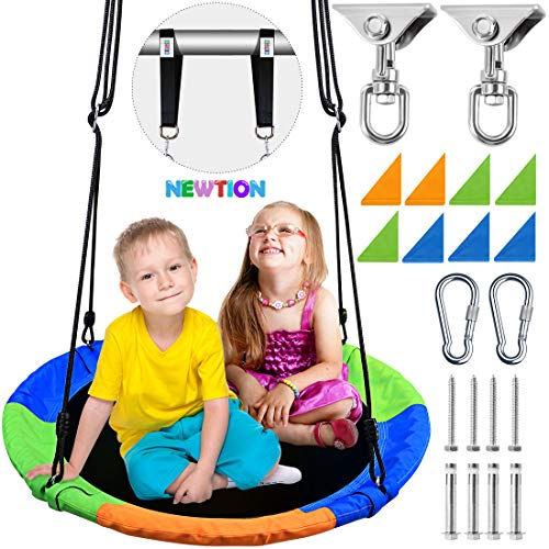 Newtion Kids Outdoor Round Mat Swing Flying Saucer Swing and Large Round Saucer Swing Set–Perfect for Tree,Backyard,Playground