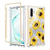 Caka Galaxy Note 10 Plus Case, Note 10 Plus Glitter Liquid Floral Full Body Case Bling Floating Girly Women Protective Bumper Case Without Screen Protector for Galaxy Note 10 Plus 5G (Sunflower)
