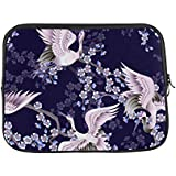 INTERESTPRINT 17 Inch 17.3 Inch Laptop Neoprene Protective Bag Pink Cherry Blossoms Branches and White Japanese Cranes Notebook Protective Sleeve Case Cover