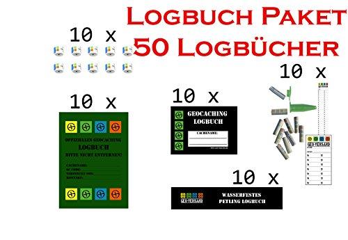 geo-versand 50 Logbücher Paket Geocaching Logbuch, Logstreifen, Dosenlogbuch, Nano Logstreifen, Filmdosen Logbuch, Versteck