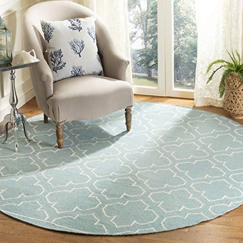 Safavieh Dhurries Collection DHU625A Teppich, handgewebt, Blau und Elfenbein, Premium-Wolle, rund, 2,1 m Durchmesser