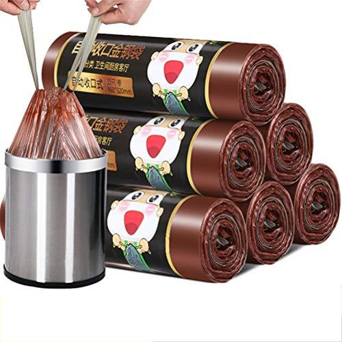 LHY SAVE Bolsas De Basura con Cordón 5 Rollos 15L Tarea Pesada Sacos De Basura 75 Saco para Basura para El Hogar, La Cocina, El Baño, La Oficina,Marrón