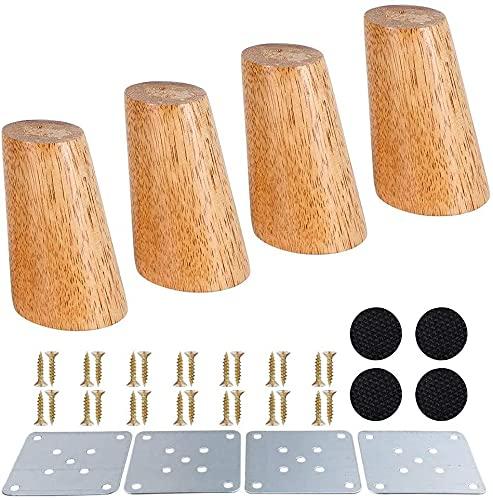 DANSHEN Juego de 4 patas de madera maciza para muebles, patas cónicas de roble, para sillas, armarios, sofás, camas y sofás