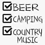 Beer Camping Country Music Funny Cute Gift Camper Camp Rv Sticker Vinyl Decal Wall Laptop Window Car Bumper Sticker 5'