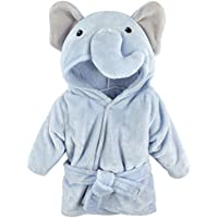 Hudson Baby Unisex Baby Plush Animal Face Robe (Blue Elephant) [0-9 Months]