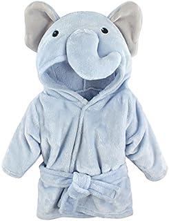 Hudson - Albornoz de peluche para bebé, 0-9 meses, Azul Elephant