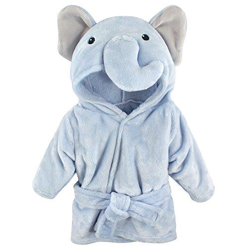 Hudson Baby Unisex Baby Plush Animal Face Robe, Blue Elephant, One Size,...