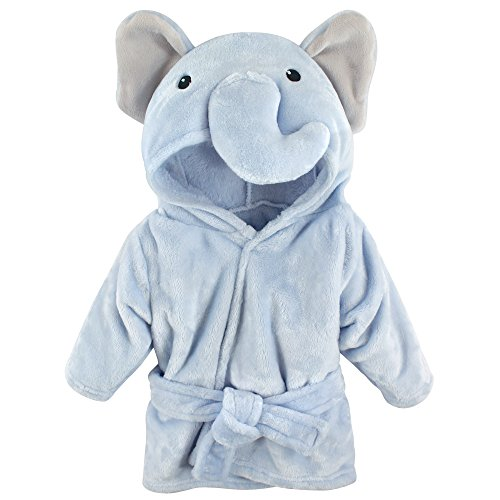 Hudson Baby Unisex Baby Plush Animal Face Robe, Blue Elephant, One Size,...