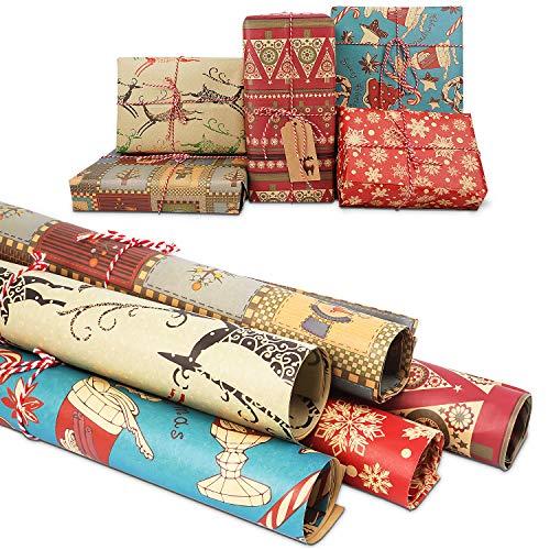 Papel para Envolver Regalos Navidad,10 hojas Papel Kraft para Envolver Navidad,para Envolver Reciclable, para Regalo de Fiesta Navideña 76X51cm