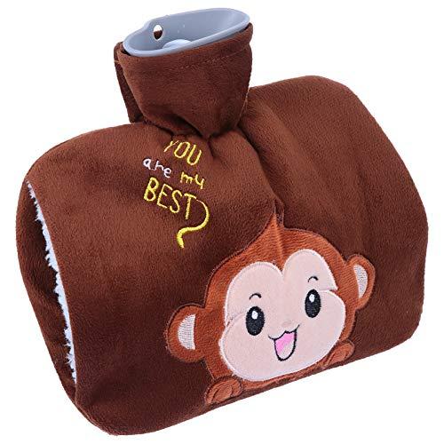MILISTEN Animal Mono de Peluche Botellas de Agua Caliente con Linda Cubierta de Piel Sintética para El Dolor de Los Músculos Menstruales Dolor de Espalda Alivio Caliente Bolsa de Mano Más