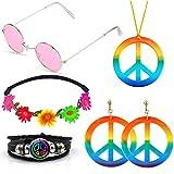 SPECOOL Conjunto de Disfraces Hippies Accesorios Hippies Arcoiris de la Paz Collar Pendientes...