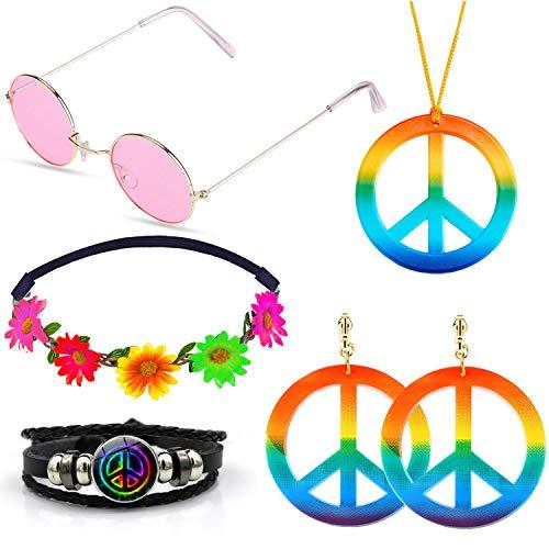 SPECOOL Conjunto de Disfraces Hippies Accesorios Hippies Arcoiris de la Paz Collar Pendientes Pulsera Diadema de Flores Gafas de Sol Hippy de Halloween Vestir para la Fiesta temática de los años