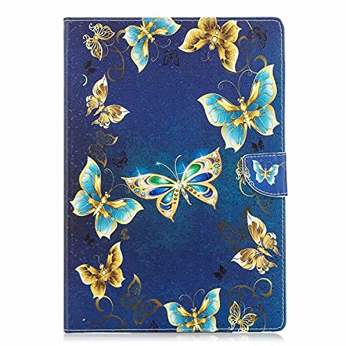 TTNAO Kompatibel mit Lenovo Tab 4 10 Hülle, Premium Leder Auto Wake/Sleep Case Standfunktion Handyhülle Stoßfeste mit Kartenfach Cover,Bunte Schmetterlinge tanzen