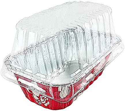 Red Mini Loaf Bread Regular dealer Fashionable Baking Pan Tins Lid Dome Clear w loaf