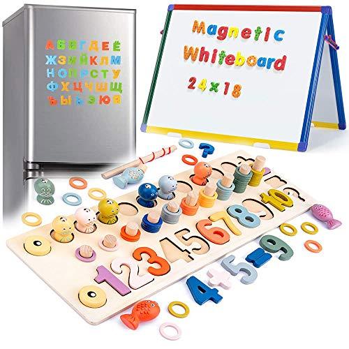 3 en 1 Juguetes Educativos Bebe Magnéticos de Madera para Niños Pequeños Juguetes Montesori Magnéticos para Niños Pequeños Educación Preescolar Aprendizaje de Bloques de Apilamiento de Matemáticas