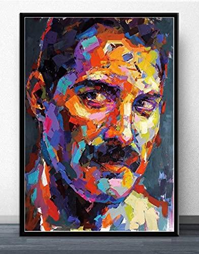 Póster de Freddie Mercury, cantante clásica en blanco y negro, figura de estrella de cine, retrato, lienzo, cuadros de pintura para el hogar 60X90cm Sin marco