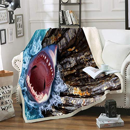 ZHYY Tiburón Dibujos Animados 3D Manta Tiro 3D Vida