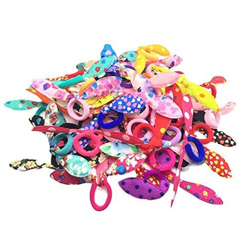 Leisial Graziosi elastici colorati con orecchie da coniglietto, da ragazza, 100pezzi