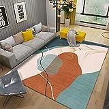 WZZSKE Alfombra de Design Moderno de Pelo Corto Alfombra Lavable Antideslizante Súper Suave para salón Dormitorio Comedor etc Geometría Floral Amarillo Rojo Verde Alfombra Tamaño: 60 x 90 cm