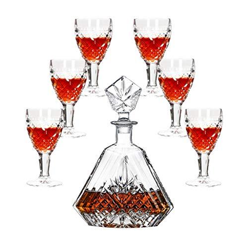 Copas de vino Copa de vino tinto en relieve europeo Copa de vino rojo con decantador de tapa Cristal del hogar Botella de vino creativa Juego de vino Set de vino Juego de 7 piezas Juego de 6 vasos