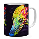 Dean Russo Greyhound Coffee Ceramic Mug  Christmas Birthday Valentine's Mothers Fathers Day Gift For Dog Lover Mom Dad Friend Pet Owners colorful Greyhound pop Art - White Mug