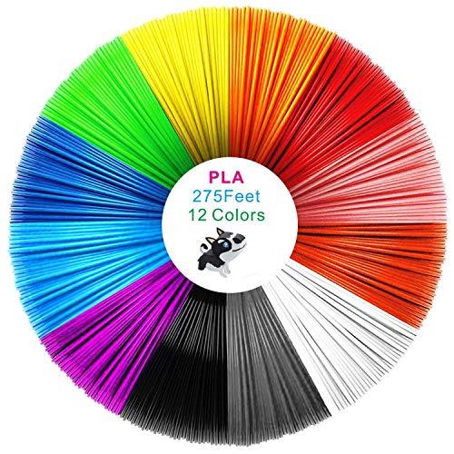 12 colores filamento impreso en 3D PLA 1.75 mm, filamento de impresión 3D PLA para impresora 3D y lápiz 3D, filamento PLA de color de seda, precisión dimensional +/- 0.02 mm, 275 pies (colorido)