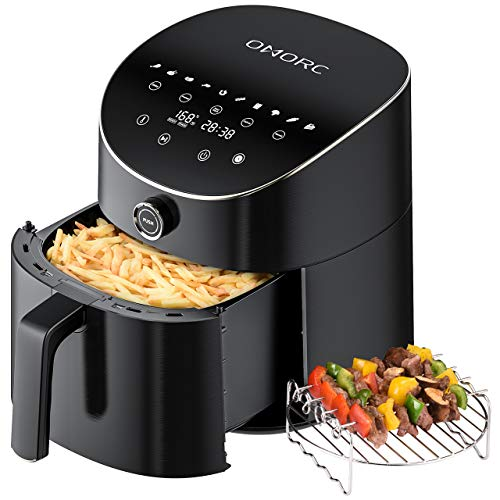OMORC Hot Air Fryer Oven 6 QT 1600W 100 Recipes LED Touch Digital Screen W/ 10 Preset Appointment Reheat Defrost Keep Warm