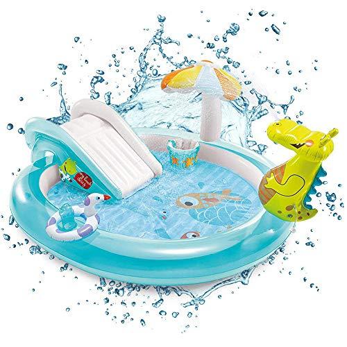 Inflable Piscina para Niños - Centro De Actividad De Agua Piscina con Tobogán Y Juguetes Cocodrilo Fuente 203cmX173cmX89cm