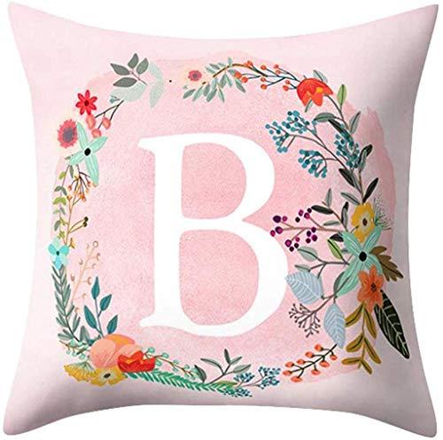 Funda de cojín con diseño de letras de ABC y flores, diseño de letras de ABC