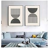 Estilo Woodblock s Impresión en Colores neutros geométricos clásicos Pintura en Lienzo Cuadro de Pared Decoración para el hogar - (20x30cm) x2pcsNoFrame