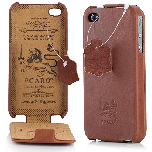 PCARO® Smooth Jazz Echtleder Hülle für Apple-iPhone-4-4S Handmade Rindsleder Leder Tasche in Cognac - Ledertasche inkl. Display Schutzfolie - ORIGINAL Cover