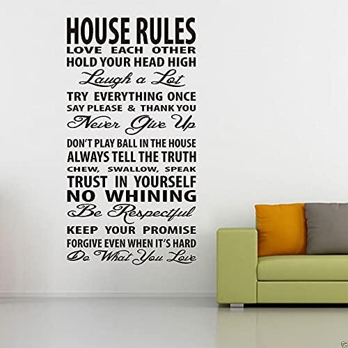 Usmnxo Reglas de la casa, calcomanía de Pared, Vinilo, Pegatina para Ventana, Arte de Pared para el hogar, Dormitorio, Sala de Estar, Mural Decorativo móvil 85x162cm