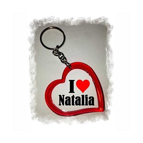 EXCLUSIVO: Llavero del corazón «I Love Natalia» , una gran idea para un regalo para su pareja, familiares y muchos más! – socios remolques, encantos encantos mochila, bolso, encantos del amor, te, amigos, amantes del amor, accesorio, Amo, Made in Germany.