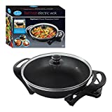 Quest 35870 Electric Non-Stick Wok with Lid - Rapid Heating with Precise Temperature Control, 1500W, Black