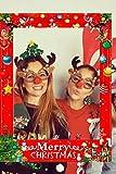 JeVenis Set di 35 Accessori per cabine fotografiche di Natale Accessori per cabine fotografiche di Natale Cornice per Foto di Natale Cornice per Cabina per Foto di Natale
