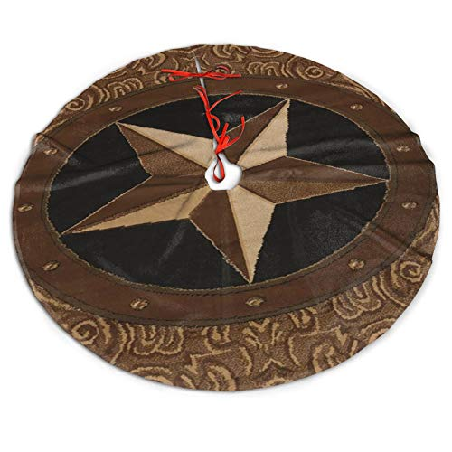 Vintage Rustic Western Country Texas Star Christmas Tree Skirt Xmas Tree Skirt Christmas Decorations for Xmas Festive Holiday Ornament New Year Party