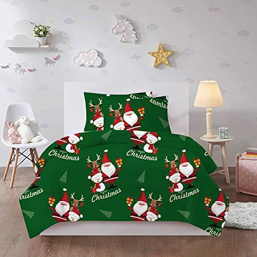 QXbecky 3D Christmas Santa Claus Ropa de Cama Funda de edredón Funda de Almohada Juego de 3 Piezas de impresión reactiva y teñido ecológicos 230x260cm