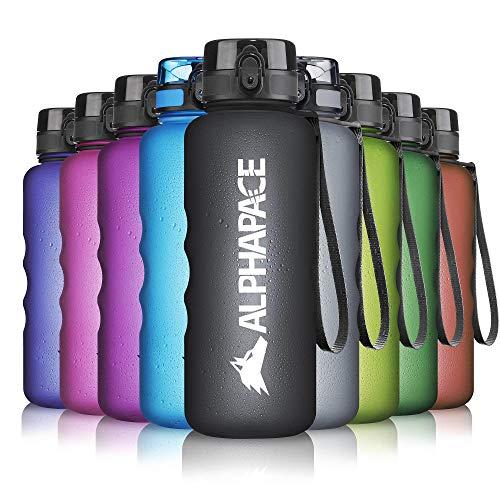ALPHAPACE Trinkflasche, auslaufsichere 1.500 ml Wasserflasche, BPA-freie Flasche für Sport, Fahrrad & Outdooraktivitäten, in Schwarz