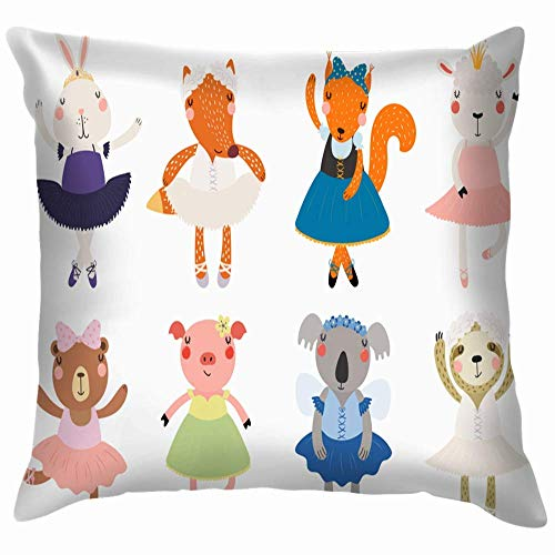 N\A Set Cute Funny Little Animals Ballerinas Wildlife Animal Pillow Case Throw Pillow Cover Square Cojín Cover
